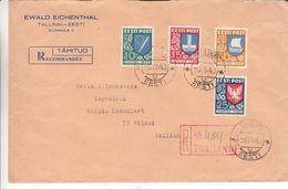 Estonie - Lettre Recom De 1940 ° - Oblit Tallinn - Exp Vers Tallinn -armoiries-oiseaux-voiliers- Négociant Eichenthal - Estonie