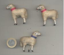 Lot De 3 Moutons , Sujets Pour Crèche - Corps Laineux - Figurine - 195...? - Jouets Anciens