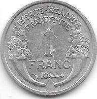 France 1 Franc 1944  Km 885a.1 Xf+ - Francia