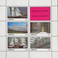 Liberia  1987 Statue Of Liberty,Cent Sheet Of Five +Label - Liberia