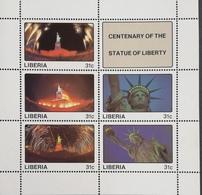 Liberia 1987 Statue Of Liberty ,Cent.Sheet Of Five + Label - Liberia