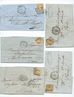 FRANCE CLASSIQUE - Petit Lot De 5 Lettres Affranchies NAPOLEON III N°13 TB. Obl. Lettres Bâtons. - 1853-1860 Napoleon III