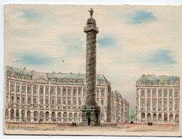 Paris : Carte De Voeux Avec La Colonne VENDOME En Aquarelle (PPP18322) - Publicités