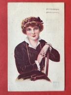 1921 - Illustrateur RAPPINI - DAME MET HAARBAND EN HALSKETTING - FEMME ASSISE AVEC COLLIER - Illustrateurs & Photographes