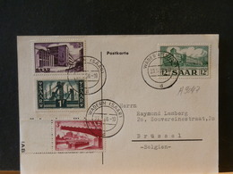 A9047 CP  SAAR 1956  POUR LA BELG. - 1947-56 Protectorate