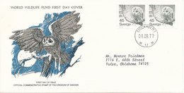 Sweden FDC 8-9-1977 OWL In Pair On WWF Cover With Cachet - FDC