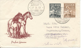 Iceland FDC ICCELANDIC HORSE 27-9-1958 With Cachet Sent To Germany - FDC