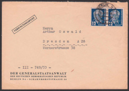 Berlin N4 Verwaltungspost Der Generalstaatsanwalt Der DDR, 12 Pfg. (2) Wilhelm Pieck - [6] República Democrática