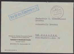 """Görlitz ZKD-Brief """"Nur Für Den Dienstgebrauch"""" Ministerrat Der DDR Handel Und Verssorgung Fachschule 5.9.72 - Oficial"""