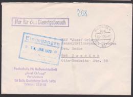 """BERLIN N4 ZKD-Brief """"Nur Für Den Dienstgebrauch"""" FS F. Außenwirtschaft """"Josef Orlopp"""" Fernstudium Nach Dresden 10.1.75 - Service"""