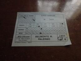 BIGLIETTO AUTOBUS BELMONTE MEZZAGNO-PALERMO - DITTA SICILBUS-1993 - Bus