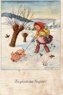 Ein Glückliches Neujahr - Mädchen Mit Schweinchen 1940 ? - New Year