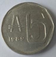 ARGENTINE - 5 Australes 1989 - En Alu - - Argentina