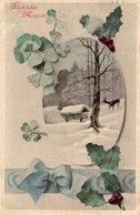 Glückliches Neujahr - Vierklee Reh Bei Wildfütterung 1912 - Neujahr
