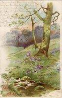Sonnenschein- Postkarte - Blumenwiese Mit Baum Und Bach 1900 - Feiern & Feste