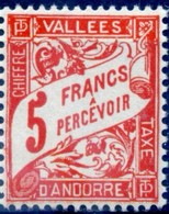 ANDORRE FRANCAIS TAXE Yvert & Tellier N° 20 ** Année 1938/41  LUXE  Neuf **  MNH - Andorre Français