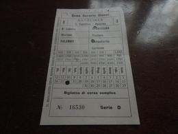 BIGLIETTO AUTOBUS CONTESSA ENTELLINA - PALERMO-DITTA STASSI- - Autobus