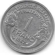 France 1 Franc 1947  Km 885a.1 Xf+ - H. 1 Franc