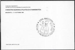ANNULLO SPECIALE - MACERATA - 11.10.1980 - MOSTRA IL SACRO NELLA FILATELIA - SU CARTOLINA MATTEO RICCI - Philatelic Exhibitions