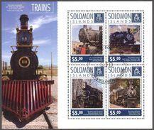 {SO11} Solomon Islands 2014 Old Trains Sheet Used / CTO - Solomon Islands (1978-...)