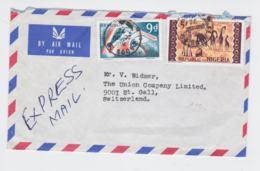 Nigeria Express Airmail Posted Lagos 1972 To Switzerland - St.Gallen Arrivl Cachet On Back - Stamp With Animals (T11-23) - Nigeria (1961-...)