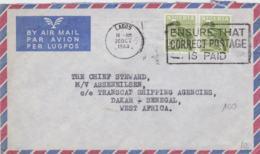 Nigeria Airmail Posted Lagos 1963 To M/V Asseneilsen At Dakar, Senegal - Stamps With Birds (T11-16) - Nigeria (1961-...)