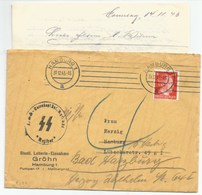 "R186 - Pli HAMBURG Du 31 Décembre 1943 Avec Correspondance - Tampon "" SS - TOTENKOPF INF.BAT.Nr. 351 - RATIBOR"" "" - Germany"