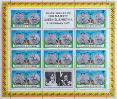 St Vincent Grenadines  1977 Queen Elizabeth II,Silver Jubilee Sheet Of Ten+two Labels - West Indies