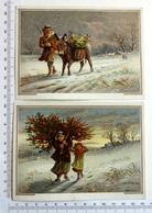 2 CHROMOS LITHOGRAPHIES  ....FORMAT CARTE POSTALE.......PAYSAGE HIVERNAL...HOMME AVEC ÂNE....FEMME AVEC BRANCHES DE HOUX - Vieux Papiers