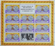 St Vincent Grenadines  1977 Queen Elizabeth II,Silver Jubilee Sheet Of Ten+two Labels - St.Vincent & Grenadines