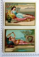 2 CHROMOS LITHOGRAPHIES  ....FORMAT CARTE POSTALE......FEMME  ALLONGÉE SUR UN COUSSIN - Vieux Papiers