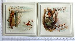 2 CHROMOS LITHOGRAPHIES  .....PETITE FILLE EN HIVER...CUEILLANT DU GUI ....NEIGE ...OISEAUX - Vieux Papiers