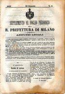 B 2532  -  Supplemento Al Foglio Periodico Della R. Prefettura Di Milano. Annunzi Legali, 1877 - Decreti & Leggi