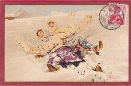 Rare CPA Signé PELLEGRINI  2 Jeunes Filles Sur LUGE Chute    ( Illustrateur Sport D' Hiver Editeur VOUGA Genève N° 103 - Illustrators & Photographers