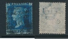GB, 1858 2d Blue SG45, Plate 9, Cat £15 Used, Corner Letters  JG - 1840-1901 (Victoria)