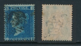 GB, 1858 2d Blue SG45, Plate 9, Cat £15 Used, Corner Letters  IB - 1840-1901 (Victoria)