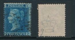 GB, 1858 2d Blue SG45, Plate 9, Cat £15 Used, Corner Letters  BD - Gebruikt