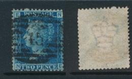GB, 1858 2d Blue SG45, Plate 9, Cat £15 Used, Corner Letters  NE - Gebruikt