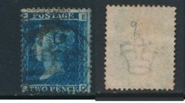 GB, 1858 2d Blue SG45, Plate 9, Cat £15 Used, Corner Letters  EC - 1840-1901 (Victoria)