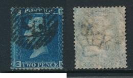 GB, 1858 2d Blue SG45, Plate 9, Cat £15 Used, Corner Letters  EL - Gebruikt
