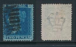 GB, 1858 2d Blue SG45, Plate 9, Cat £15 Used, Corner Letters  HF - Gebruikt