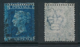 GB, 1858 2d Blue SG45, Plate 9, Cat £15 Used, Corner Letters  FJ - Gebruikt
