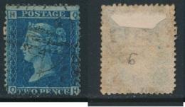 GB, 1858 2d Blue SG45, Plate 9, Cat £15 Used, Corner Letters  QH - Gebruikt
