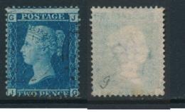 GB, 1858 2d Blue SG45, Plate 9, Cat £15 Fine Used, Corner Letters  JG - Gebruikt