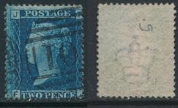 GB, 1858 2d Blue SG45, Plate 9, Cat £15 Fine Used, Corner Letters  FJ - Gebruikt