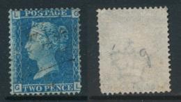 GB, 1858 2d Blue SG45, Plate 9, Cat £15 VFU, Corner Letters  GL - Gebruikt