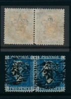 GB, 1858 2d Blue SG45 Pair, Pl. 9, Cat £15 VFU, Corner Letters LD - LE - Gebruikt