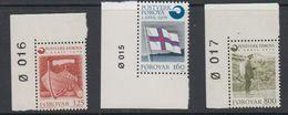 Faroe Islands 1976 Gründung Färoischen Postwesen 3v (corners, Sheet Number) ** Mnh (42806E) - Faeroër