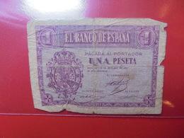 ESPAGNE 1 PESETA 1937 CIRCULER - [ 3] 1936-1975 : Régence De Franco