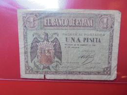 ESPAGNE 1 PESETA 1938 CIRCULER - [ 3] 1936-1975 : Régence De Franco